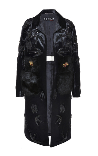 Medium rochas black embroidered swallows velvet coat with fur pockets