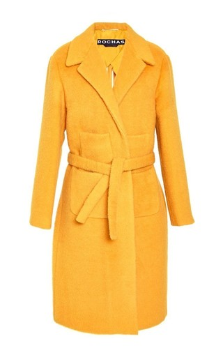 Medium rochas yellow mohair four pocket coat
