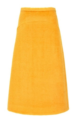 Medium rochas yellow mohair midi a line skirt