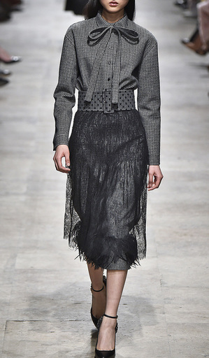 Pied De Poule Skirt With Chantilly Lace Overlay by ROCHAS for Preorder on Moda Operandi