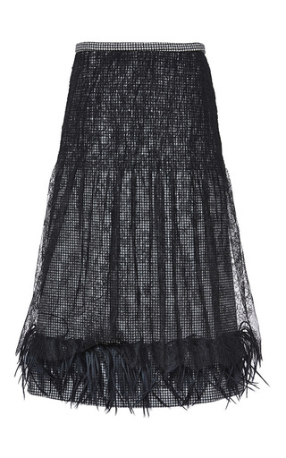 Medium rochas black pied de poule skirt with chantilly lace overlay