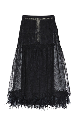 Medium rochas black chantilly lace skirt with black wool suiting back