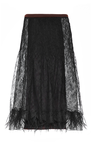 Medium rochas chantilly lace fit and flare skirt