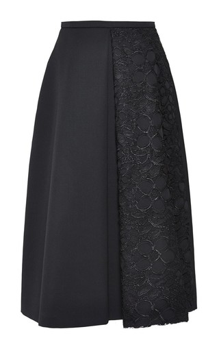 Medium rochas black wool pleated skirt with lace panel