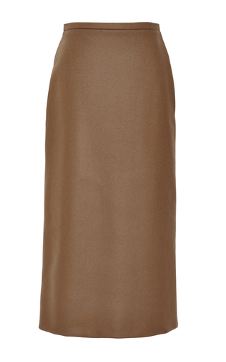 Medium rochas green doubleface boiled cashmere pencil skirt