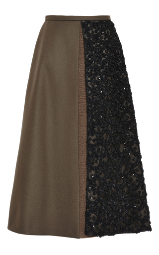 Medium rochas green embroidered wool cashmere a line skirt