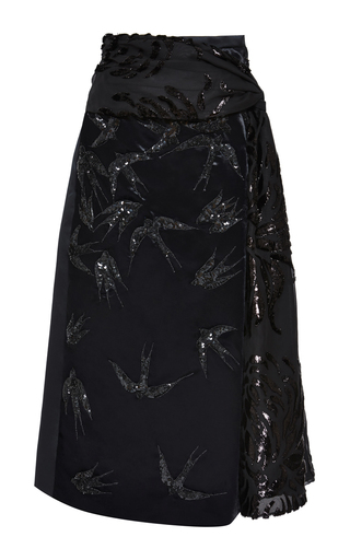 Medium rochas black nigel chrysanthemum with embroidered swallows knot skirt