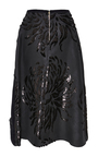Embroidered Swallows With Chrysanthemum Nigel Pleat Skirt by ROCHAS for Preorder on Moda Operandi