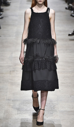 Wool Boucle Combo Trapeze Cocktail Dress by ROCHAS for Preorder on Moda Operandi