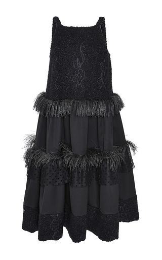Medium rochas black wool boucle combo trapeze cocktail dress