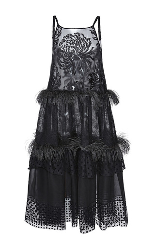 Medium rochas black chrysanthemum lace trapeze dress with rubber fringe