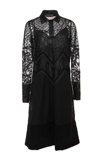 Medium rochas black long sleeve lace polka dot sheath dress