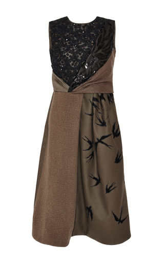 Medium rochas green embroidered swallows tea dress with chrysanthemum nigel knot top