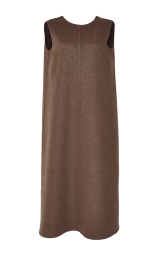 Medium rochas green olive wool cashmere sleeveless dress