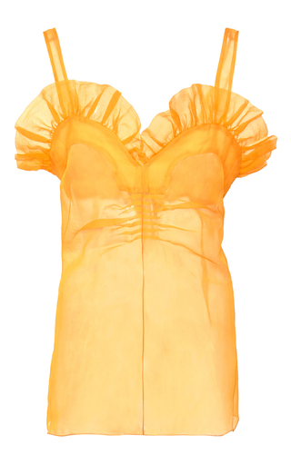 Medium rochas yellow crinkle organza sweetheart top