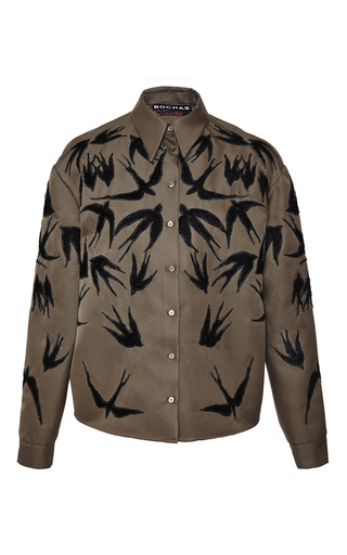 Medium rochas green sparrow mikado shirt