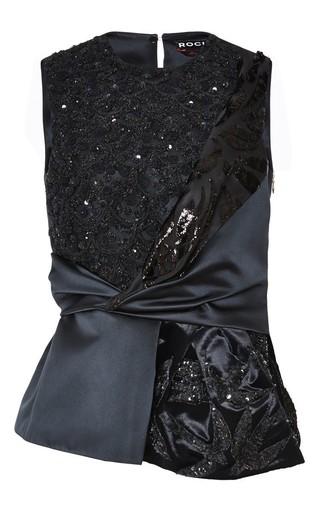 Medium rochas black embroidered satin and velvet knot top