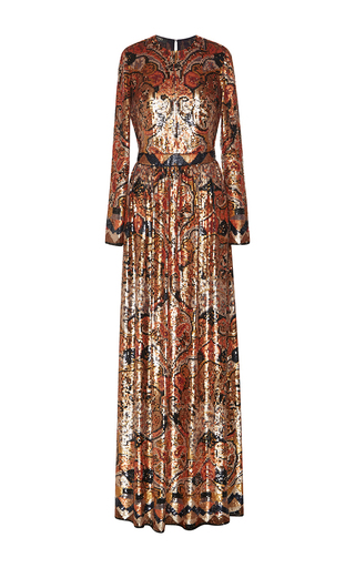 Hand Painted Floral Medallion Paillette Gown by ETRO for Preorder on Moda Operandi