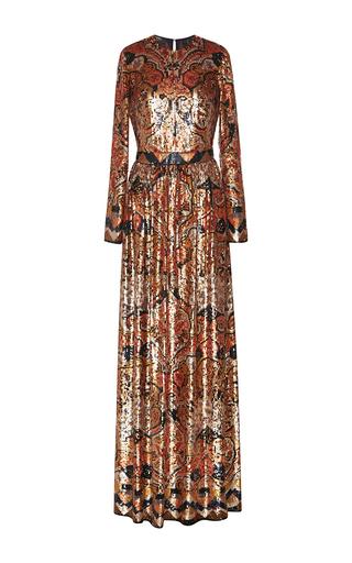 Medium etro metallic hand painted floral medallion paillette gown