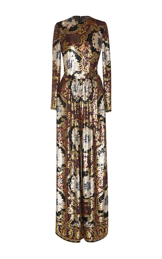Medium etro metallic hand painted paillette jumpsuit