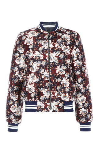 Medium mother of pearl burgundy bennett silk cotton bomber jacket