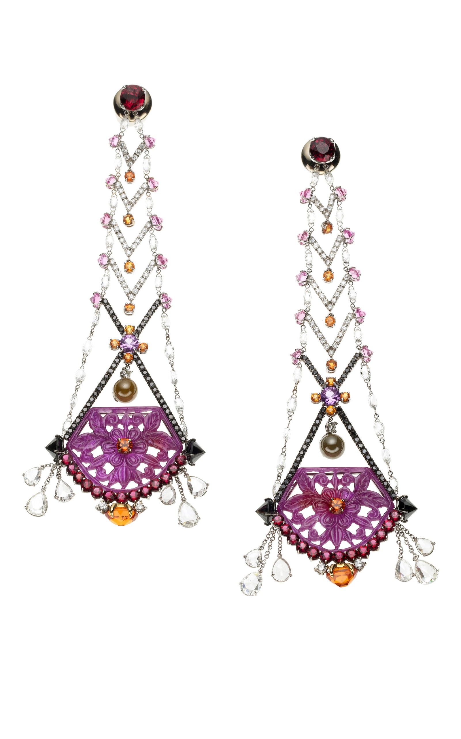Floral Statement Earrings By Vbh Moda Operandi