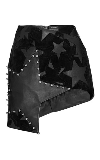 Medium anthony vaccarello black black patchwork stars asymmetric mini skirt