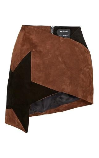 Medium anthony vaccarello brown brown colorblock star asymmetric mini skirt