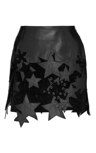 Medium anthony vaccarello black mini skirt with patchwork stars and side slit