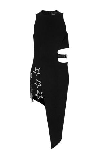 Medium anthony vaccarello black halter dress with asymmetric skirt and star eyelets