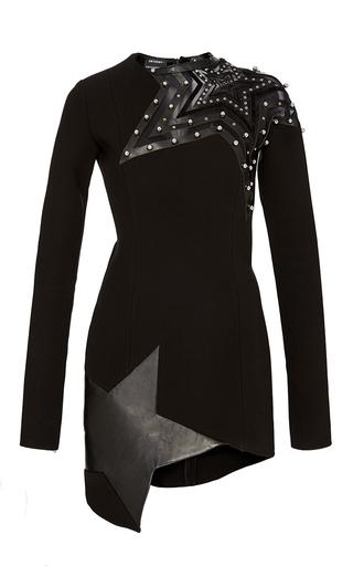 Medium anthony vaccarello black embroidered stars long sleeve dress