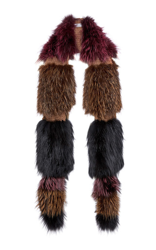 Medium sonia rykiel burgundy knitted silver fox fur scarf