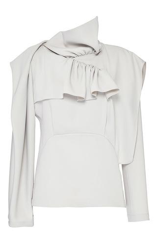 Medium j w anderson white stone satin crepe funnel neck ruffle blouse