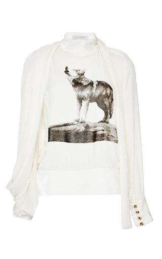 Medium j w anderson white velvet drape sleeve scarf blouse