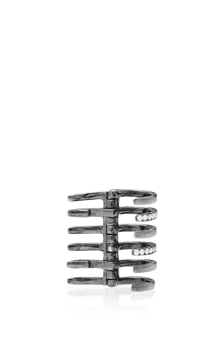 Amour Cuff Earring With Black Diamonds by ELISE DRAY Now Available on Moda Operandi