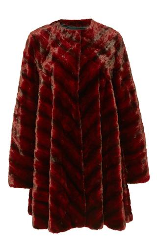 Medium j mendel red ermine collarless swing coat
