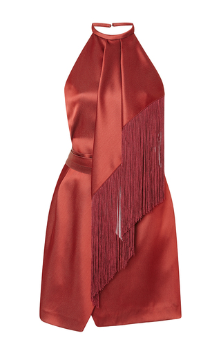 Medium j mendel red silk charmeuse halter dress