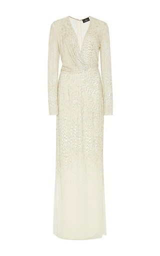 Medium j mendel metallic embroidered silk chiffon draped gown