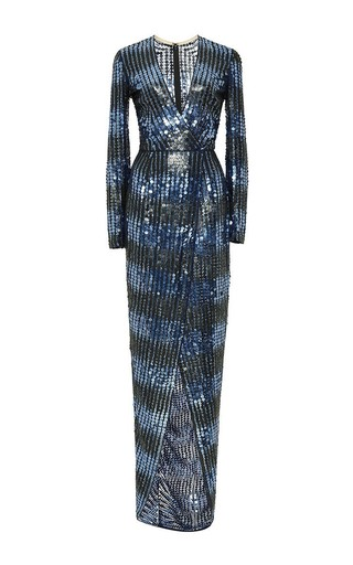 Medium j mendel blue embroidered silk chiffon draped gown 2