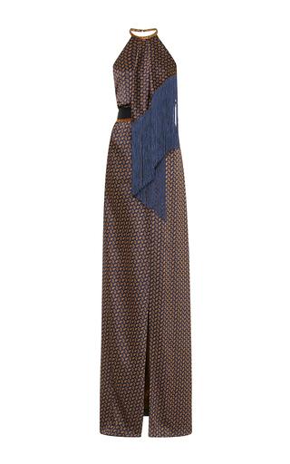 Medium j mendel metallic paisley satin jacquard halter dress