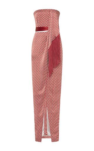 Medium j mendel metallic paisley satin jacquard strapless dress