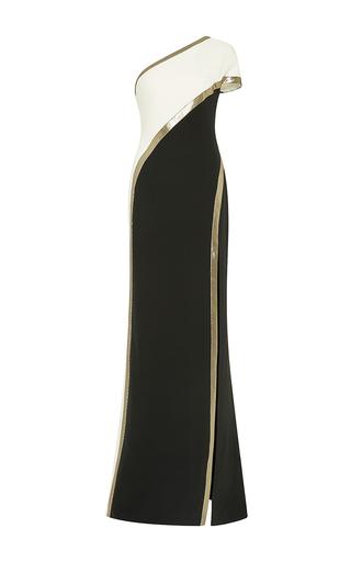 Medium j mendel metallic one shoulder silk crepe gown