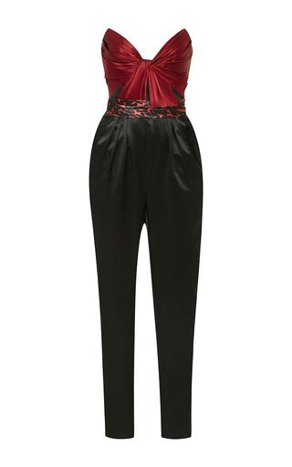 Medium j mendel red trompe loeil strapless jumpsuit