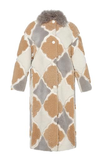 Medium marco de vincenzo white silk intarsia with shearling shearling coat