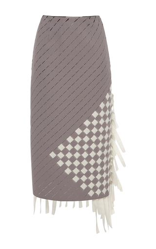 Medium marco de vincenzo dark grey heavy crepe ribbon pencil skirt