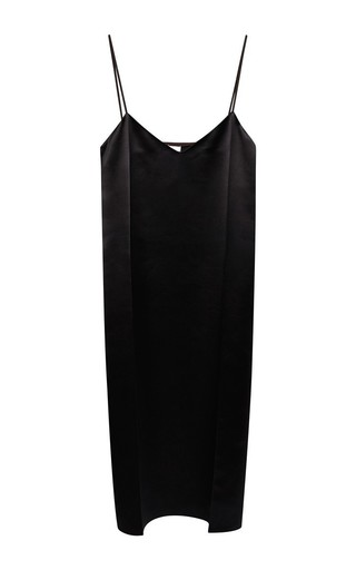 Medium nina ricci black black wool satin pleated slip dress