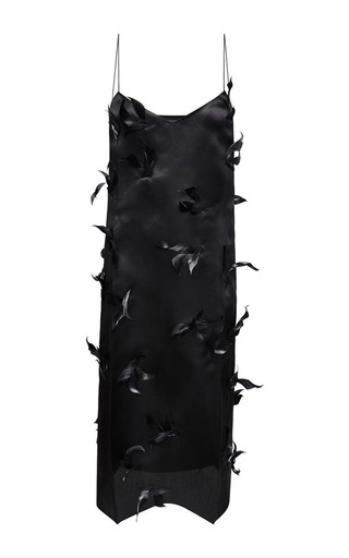 Medium nina ricci black black silk organza feather embroidered slip dress