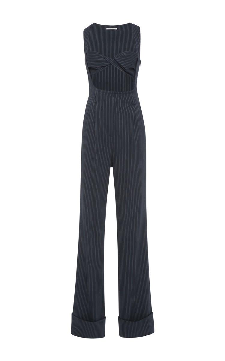3802095991c Alessandra RichNavy Blue Pinstripe Jumpsuit With Bandeau. CLOSE. Loading