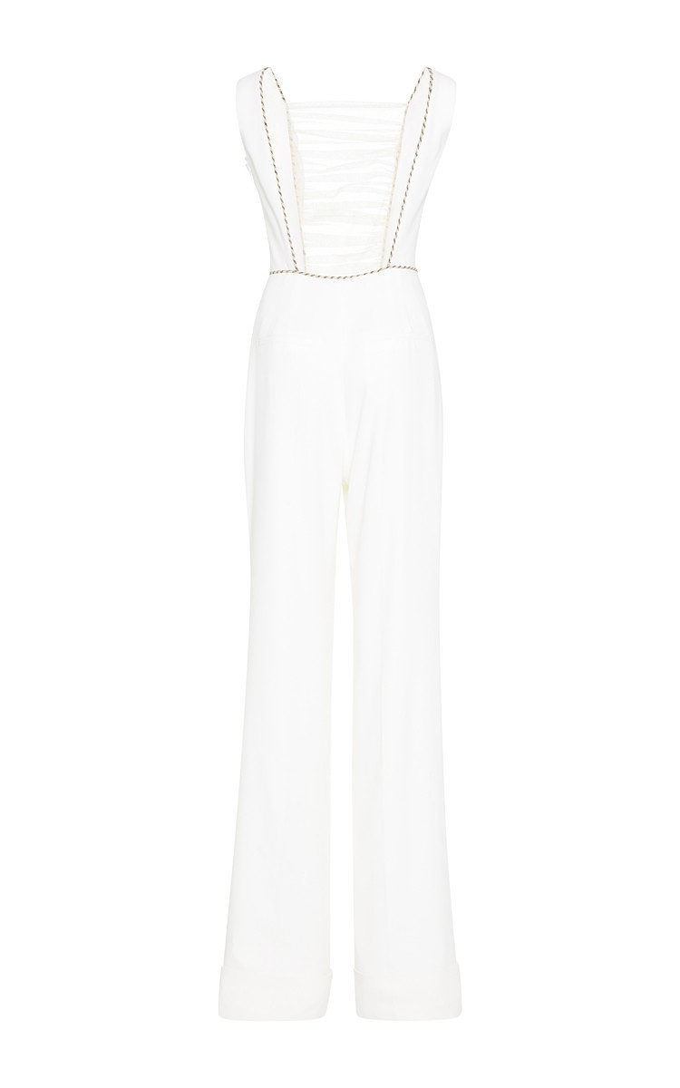 7453579277ec Alessandra RichWhite Silk Jumpsuit With Ruched Tulle Front. CLOSE. Loading