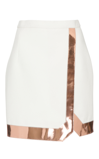 Medium mugler white tailored coating and mirrored leather skirt